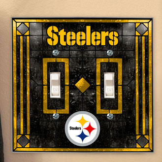 Pittsburgh Steelers Nfl Art Glass Double Light Switch