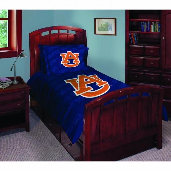 Auburn Tigers Ncaa College Twin Comforter Set 63 X 86