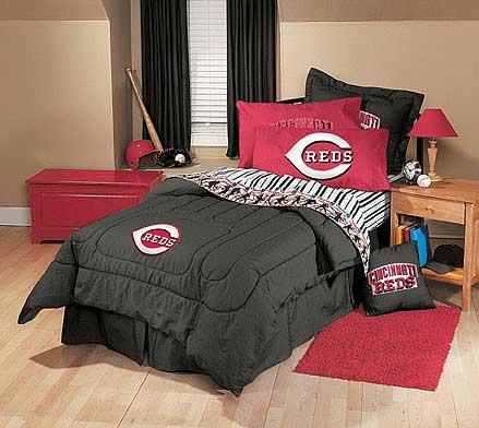 Cincinnati Reds Team Denim Queen Comforter Sheet Set