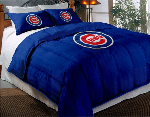 Chicago Cubs Mlb Twin Chenille Embroidered Comforter Set