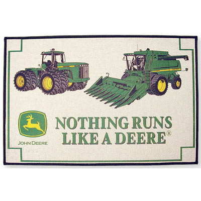 Yes, these rugged-looking shag rug designs by Permafrost (for purchase via John  Deere, of course) appear to have been run over by ...