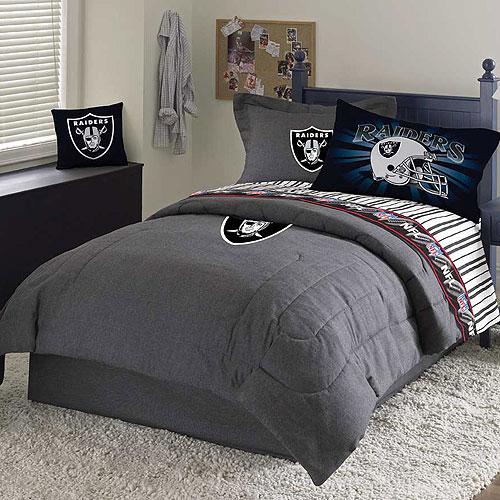 Oakland raiders nfl team denim full comforter sheet set for Denim bedroom ideas