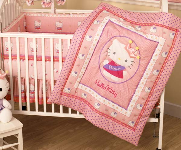 Hello Kitty Princess 3 Piece Crib Bedding Set