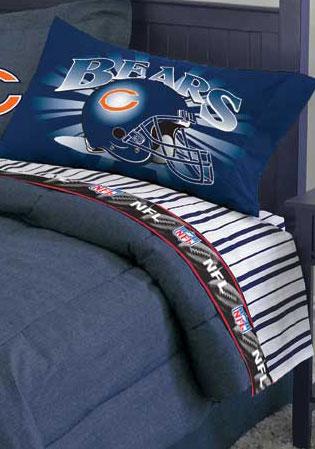 Chicago Bears Queen Size Pinstripe Sheet Set
