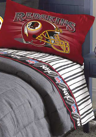 Washington Redskins Queen Size Pinstripe Sheet Set