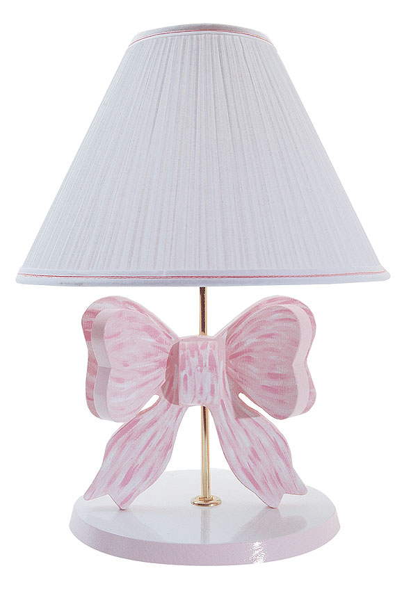 Handpainted Wooden Pink Bow Lamp With White Pleated Shade