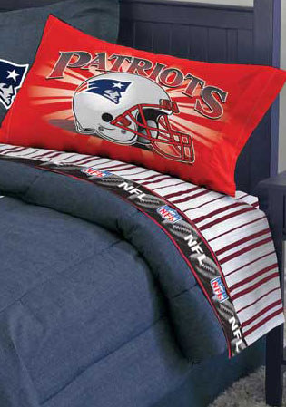 New England Patriots Twin Size Pinstripe Sheet Set