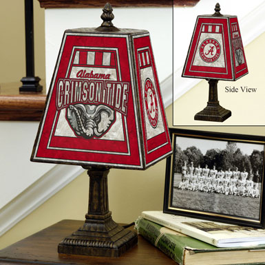 alabama crimson tide ncaa college art glass table lamp. Black Bedroom Furniture Sets. Home Design Ideas