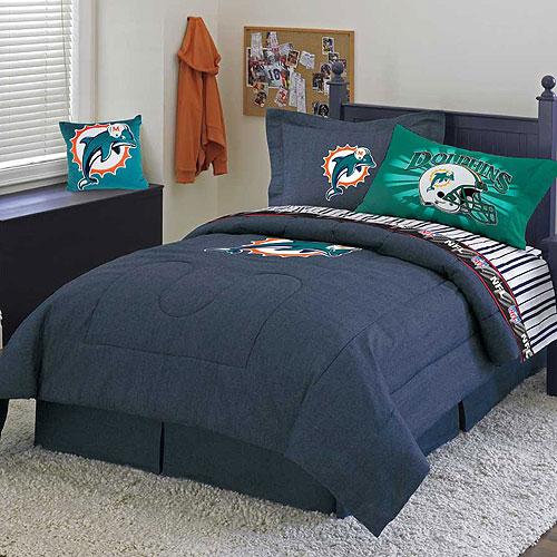 Miami dolphins nfl team denim full comforter sheet set for Denim bedroom ideas