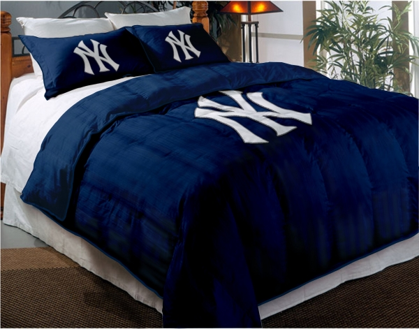 new york yankees mlb twin chenille embroidered comforter set with 2