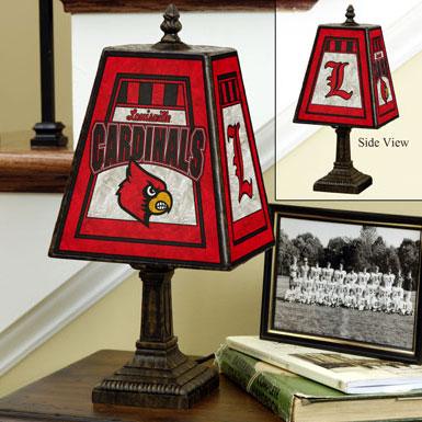 louisville cardinals ncaa college art glass table lamp