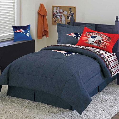 New England Patriots Nfl Team Denim Twin Comforter Sheet Set