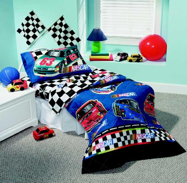 Nascar Checkered Flag Toddler 4 Piece Comforter Sheet Set