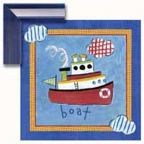 Go Man Go Boat Contemporary Mount Print With Beveled Edge