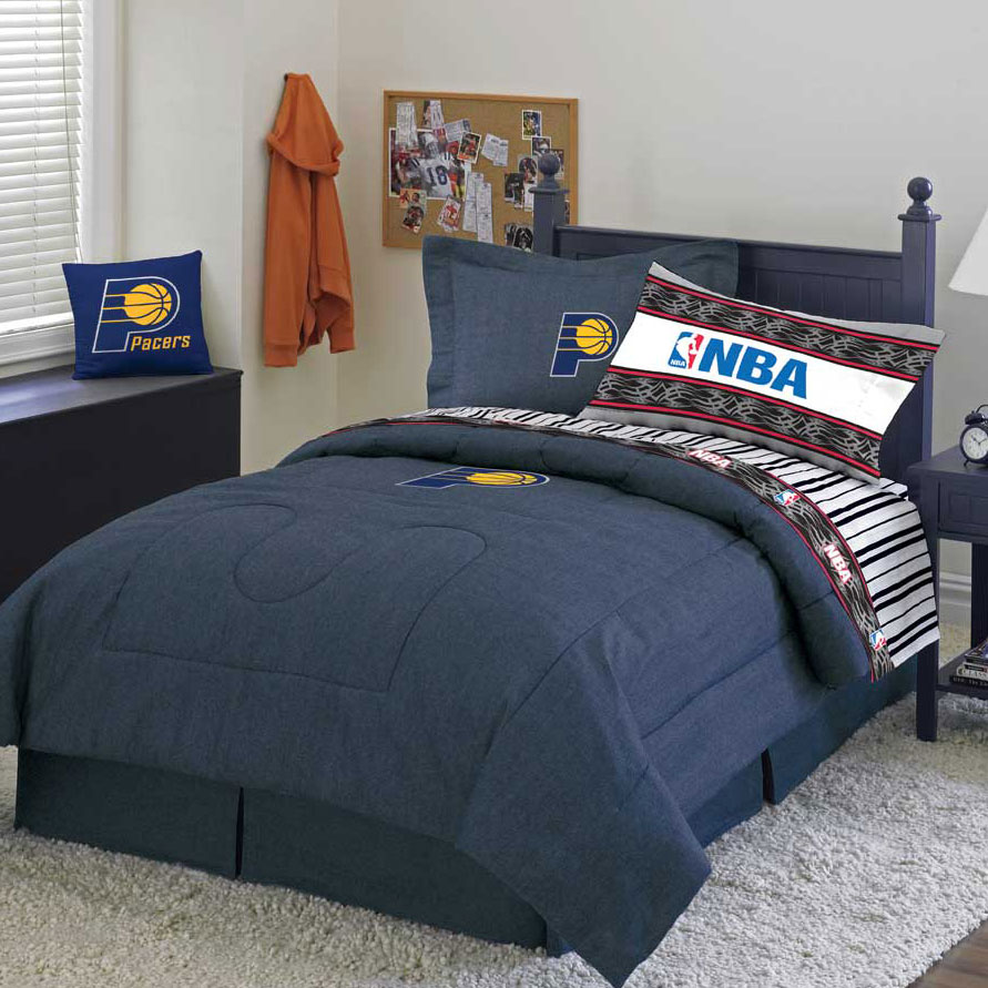 Indiana Pacers Blue Team Denim Twin Size Comforter Sheet Set