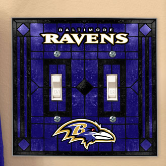 Baltimore Ravens Nfl Art Glass Double Light Switch Plate Cover