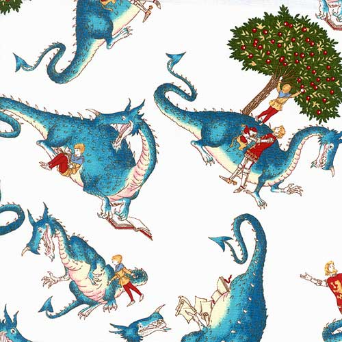 Nottingham fabric by the yard small dragon for Dragon fabric kids