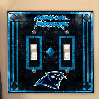 Carolina Panthers Nfl Art Glass Double Light Switch Plate