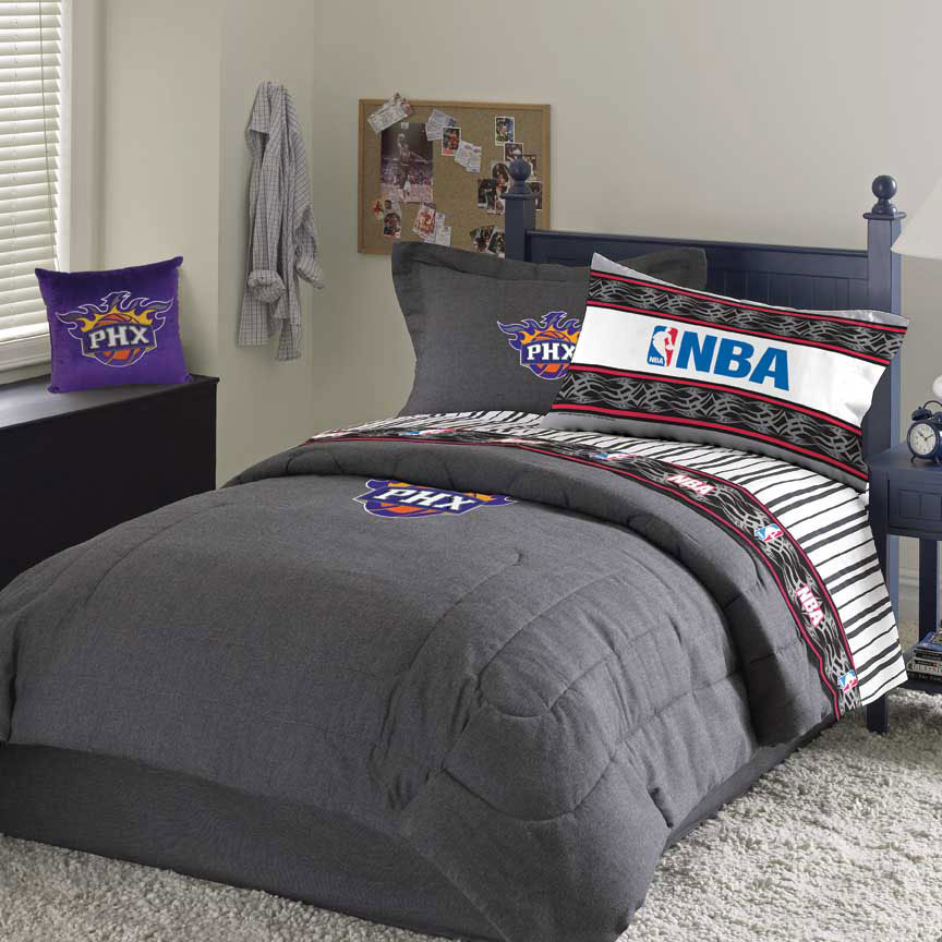 Phoenix Suns Team Queen Size Nba Denim Comforter Sheet Set