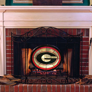Georgia Uga Bulldogs Ncaa College Stained Glass Fireplace