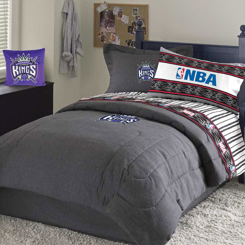 Sacramento Kings Team Denim Queen Comforter Sheet Set