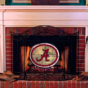 Alabama Crimson Tide Ncaa College Stained Glass Fireplace