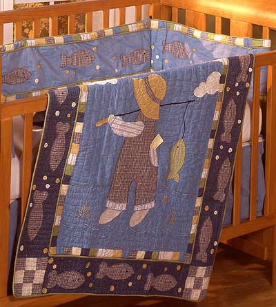 Gone fishing 4 piece crib quilt set for Fishing nursery bedding