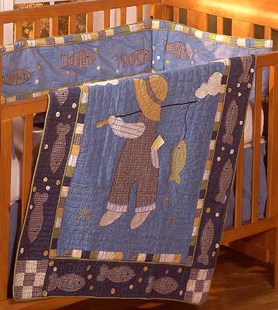 Gone fishing 4 piece crib quilt set for Fishing crib bedding