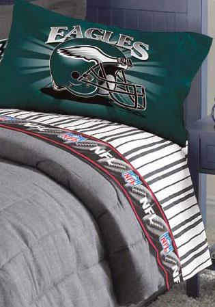 Philadelphia Eagles Queen Size Pinstripe Sheet Set
