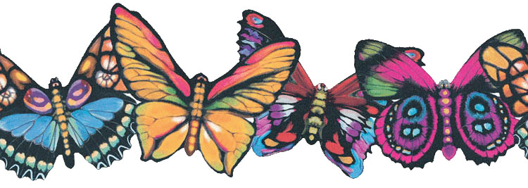Rainbow Colored Butterflies Wall Border