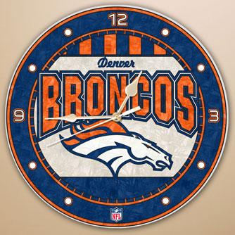 Denver Broncos Nfl 12 Quot Round Art Glass Wall Clock