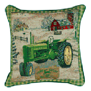 john deere tractor antique tapestry throw pillow