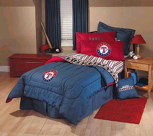 texas rangers team denim twin comforter / sheet set