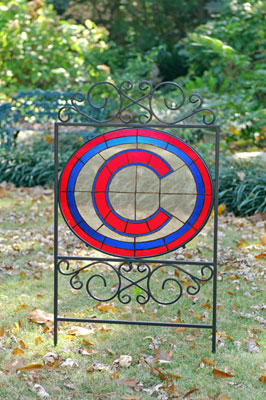 Chicago Cubs Mlb Stained Glass Outdoor Yard Sign