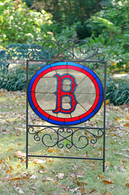 Boston Red Sox Mlb Stained Glass Outdoor Yard Sign