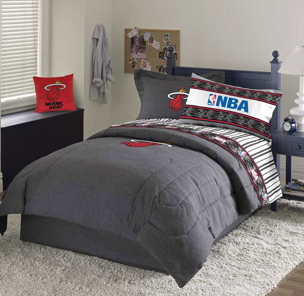 Miami Heat Team Denim Twin Comforter Sheet Set