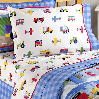 Trains Planes And Trucks Twin Sheet Set