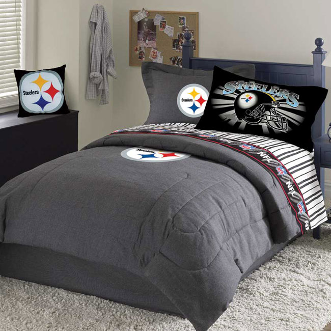 Pittsburgh Steelers Team Black Denim Full Size Comforter