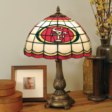 San francisco 49ers nfl stained glass tiffany table lamp for 49ers room decor