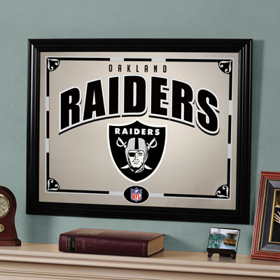 Oakland Raiders Nfl Framed Glass Mirror