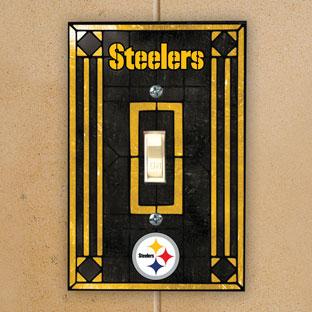 Pittsburgh Steelers Nfl Art Glass Single Light Switch