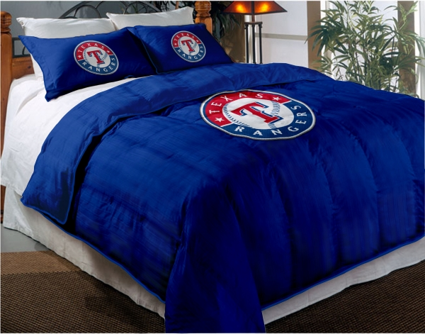 texas rangers mlb twin chenille embroidered comforter set with 2