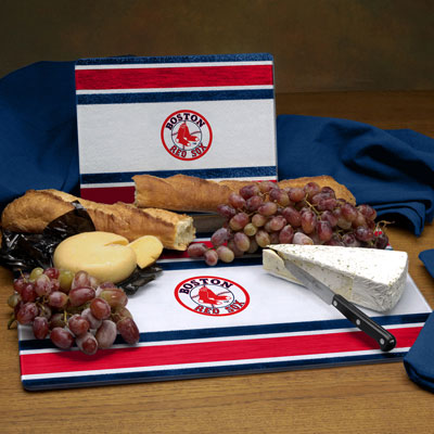 Boston Red Sox Mlb Glass Cutting Board Set