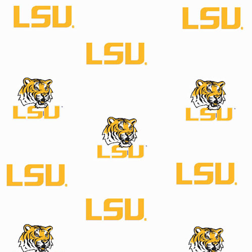 Lsu Louisiana State Tigers Ruffled Bedskirt White