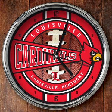 louisville cardinals ncaa college 12quot chrome wall clock