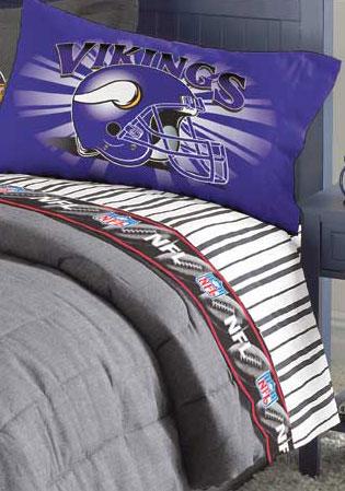 Minnesota Vikings Queen Size Pinstripe Sheet Set