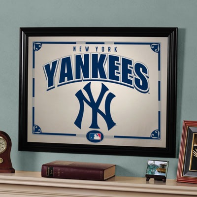 New York Yankees Mlb Framed Glass Mirror