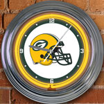 "Green Bay Packers NFL 15"" Neon Wall Clock"