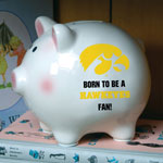NCAA Iowa Hawkeyes Piggy Bank with All Over Logo