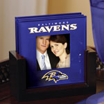 Baltimore Ravens NFL Art Glass Photo Frame Coaster Set